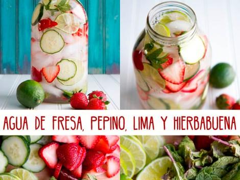 agua fresa lima pepino hierbabuena