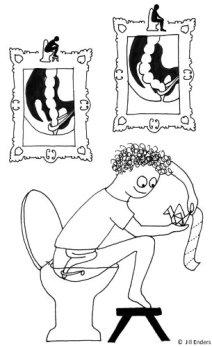 La mejor postura para defecar. Ilustración Jill Enders